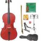Merano 3/4 Size Red Cello w/Bag,Bow+Rosin+2 Sets Strings+Tuner+Cello Stand+Music Stand