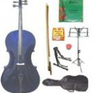 Merano 3/4 Size Purple Cello w/Bag,Bow+Rosin+2 Sets Strings+Tuner+Cello Stand+Music Stand