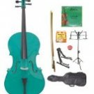 Merano 3/4 Size Green Cello w/Bag,Bow+Rosin+2 Sets Strings+Tuner+Cello Stand+Music Stand