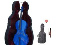 Merano 1/4  Size Blue Cello with Hard Case + Soft Carrying Bag + Bow + Free Rosin