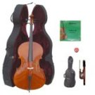 Merano 4/4 Size Student Cello with Hard Case + Soft Carrying Bag + Bow + 2 Sets of Strings + Rosin