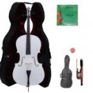 Merano 3/4 Size White Cello with Hard Case + Soft Carrying Bag + Bow + 2 Sets of Strings + Rosin