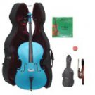 Merano 3/4 Size Blue Cello with Hard Case + Soft Carrying Bag + Bow + 2 Sets of Strings + Rosin