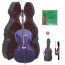 Merano 3/4 Size Purple Cello with Hard Case + Soft Carrying Bag + Bow + 2 Sets of Strings + Rosin