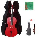 Merano 4/4 Size Red Cello with Hard Case + Soft Carrying Bag + Bow + 2 Sets of Strings + Rosin