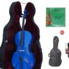 Merano 1/4 Size Blue Cello with Hard Case + Soft Carrying Bag + Bow + 2 Sets of Strings + Rosin