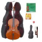 Merano 4/4 Size Student Cello with Hard Case+Soft Carrying Bag+Bow+2 Sets Strings+Tuner+Rosin