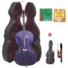 Merano 3/4 Size Purple Cello with Hard Case+Soft Carrying Bag+Bow+2 Sets Strings+Tuner+Rosin