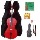 Merano 3/4 Size Red Cello with Hard Case+Soft Carrying Bag+Bow+2 Sets Strings+Tuner+Rosin