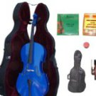 Merano 3/4 Size Blue Cello with Hard Case+Soft Carrying Bag+Bow+2 Sets Strings+Tuner+Rosin