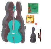 Merano 1/4 Size Green Cello with Hard Case+Soft Carrying Bag+Bow+2 Sets Strings+Tuner+Rosin