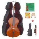 Merano 3/4 Size Student Cello with Hard Case+Soft Bag+Bow+2 Sets Strings+2 Bridges+Tuner+Rosin