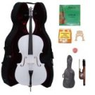 Merano 4/4 Size White Cello with Hard Case+Soft Bag+Bow+2 Sets Strings+2 Bridges+Tuner+Rosin