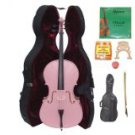 Merano 4/4 Size Pink Cello with Hard Case+Soft Bag+Bow+2 Sets Strings+2 Bridges+Tuner+Rosin