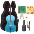 Merano 4/4 Size Blue Cello with Hard Case+Soft Bag+Bow+2 Sets Strings+2 Bridges+Tuner+Rosin