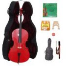 Merano 3/4 Size Red Cello with Hard Case+Soft Bag+Bow+2 Sets Strings+2 Bridges+Tuner+Rosin