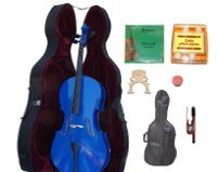 Merano 3/4 Size Blue Cello with Hard Case+Soft Bag+Bow+2 Sets Strings+2 Bridges+Tuner+Rosin