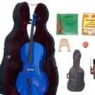 Merano 1/2 Size Blue Cello with Hard Case+Soft Bag+Bow+2 Sets Strings+2 Bridges+Tuner+Rosin