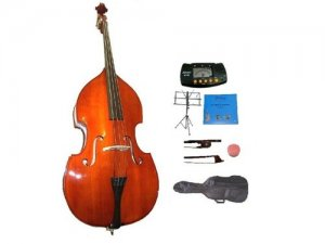 Merano 3/4 Size Natural Upright Double Bass w/Bag,Bow,Bridge+2 Sets Strings+Rosin+Music Stand+Tuner