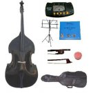 Merano 1/4 Size Black Upright Double Bass w/Bag,Bow,Bridge+2 Sets Strings+Rosin+Music Stand+Tuner