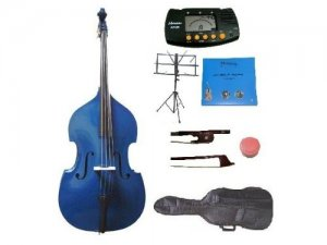 Merano 1/2 Size Blue Upright Double Bass w/Bag,Bow,Bridge+2 Sets Strings+Rosin+Music Stand+Tuner