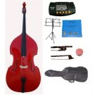 Merano 4/4 Size Red Upright Double Bass w/Bag,Bow,Bridge+2 Sets Strings+Rosin+Music Stand+Tuner