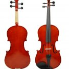1/2 Size EBONY Solid Wood Nice Flamed Violin w/ Hard Case and Bow+Rosin~Natural