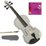 Merano 1/2 Size Acoustic White Violin with Hard Case and Bow+Free Rosin+Extra E String