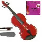 Merano 3/4 Size Acoustic Red Violin with Hard Case and Bow+Free Rosin+Extra E String