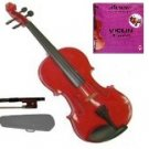 Merano 1/32 Size Acoustic Red Violin with Hard Case and Bow+Free Rosin+Extra E String