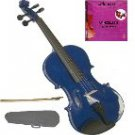 Merano 1/10 Size Acoustic Blue Violin with Hard Case and Bow+Free Rosin+Extra E String