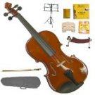 MV200 4/4 Size SolidWood Violin,Case,Bow+Rosin+2 Sets Strings+2 Bridges+Tuner+Shoulder Rest+Stand
