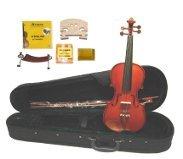 MV350 1/8 Size Boxwood/Ebony Violin,Case,Bow+2 Sets Strings+2 Bridges+Rosin+Tuner+Shoulder Rest