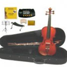 1/10 Size Boxwood/Ebony Violin,Case,Bow+2 Sets Strings+2 Bridges+Rosin+Tuner+Shoulder Rest+Stand