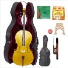 Merano 4/4 Size Gold Cello with Hard Case+Soft Bag+Bow+2 Sets Strings+2 Bridges+Tuner+Rosin