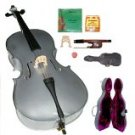 Merano 4/4 Size GREY Cello with Hard Case+Soft Bag+Bow+2 Sets Strings+2 Bridges+Tuner+Rosin