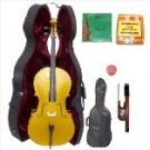 Merano 3/4 Size Gold Cello with Hard Case+Soft Bag+Bow+2 Sets Strings+Tuner+Rosin