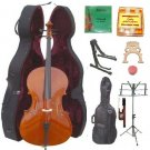 Merano 4/4 Size Student Cello, Hard Case,Soft Bag,Bow,2 Sets Strings,2 Bridges,Tuner,Rosin,2 Stands