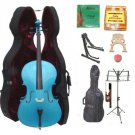 Merano 4/4 Size Blue Cello, Hard Case,Soft Bag,Bow,2 Sets Strings,2 Bridges,Tuner,Rosin,2 Stands