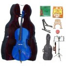 Merano 3/4 Size Blue Cello, Hard Case,Soft Bag,Bow,2 Sets Strings,2 Bridges,Tuner,Rosin,2 Stands
