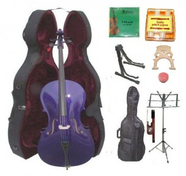 Merano 1/2 Size Purple Cello, Hard Case,Soft Bag,Bow,2 Sets Strings,2 Bridges,Tuner,Rosin,2 Stands