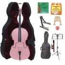 Merano 1/4 Size Pink Cello, Hard Case,Soft Bag,Bow,2 Sets Strings,2 Bridges,Tuner,Rosin,2 Stands