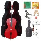 Merano 4/4 Size Red Cello, Hard Case,Soft Bag,Bow,2 Sets Strings,2 Bridges,Tuner,Rosin,2 Stands