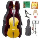 Merano 4/4 Size Gold Cello, Hard Case,Soft Bag,Bow,2 Sets Strings,2 Bridges,Tuner,Rosin,2 Stands