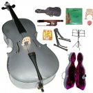 Merano 4/4 Size Grey Cello, Hard Case,Soft Bag,Bow,2 Sets Strings,2 Bridges,Tuner,Rosin,2 Stands