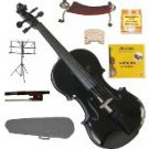 3/4 EBONY FITTED BLACK Violin,Case,Bow,Rosin,2 Sets Strings,2Bridges,Tuner,Shoulder Rest,Music Stand