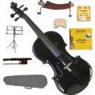1/8 EBONY FITTED BLACK Violin,Case,Bow,Rosin,2 Sets Strings,2Bridges,Tuner,Shoulder Rest,Music Stand