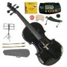 4/4 EBONY FITTED BLACK Violin,Case,2Bows,Rosin,2Sets Strings,2Bridges,Tuner,Shoulder Rest,Stand,Mute