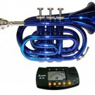 MERANO BLUE LACQUER POCKET TRUMPET WITH CASE