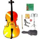 Merano 3/4 Size Gold Cello w/Bag,Bow+Rosin+2 Sets Strings+Tuner+Cello Stand+Music Stand